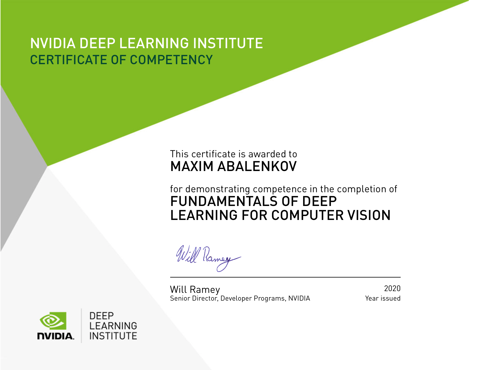 NVIDIA Deep Learning for Computer Vision, Certificate